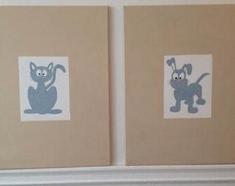 Dog and Cat in Blue for Nursery