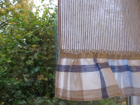 Items Similar To Striped Linen Cafe Curtain Romantic Cafe