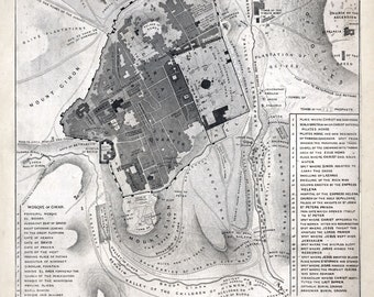 1835 Map of Jerusalem Israel