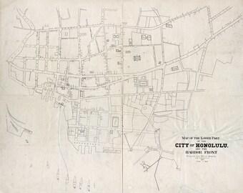 1893 Map of Lower Part of Honolulu Hawaii