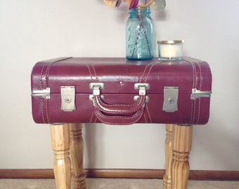 Vintage Brick Red Suitcase End Table