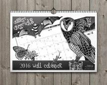A4 Zentangle Wall Calendar 2016 - Tangled Aussie Animals - Zentangle-inspired Calendar
