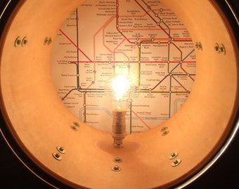 Upcycled London Tube Map Drum Floor Lamp