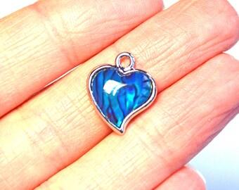 heart charm, heart pendant, blue heart charm, blue heart pendant, blue abalone heart charm, silver plated