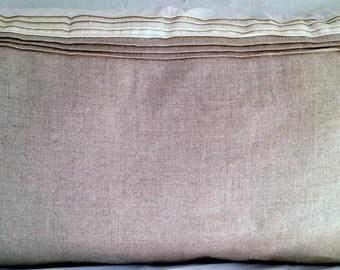 Long Linen-white silk pillow