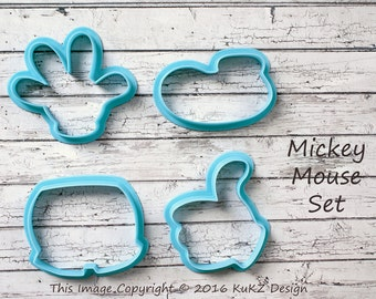 Mickey mouse set of 4 cookie cutters / Mickey mouse cookie cutter / Mickey cookie cutter / Mickey mouse fondant cutter