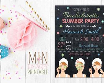 Bachelorette slumber party invitation card,slumber party invitation,girls slumber party invitations,sleepover,spa sleepover