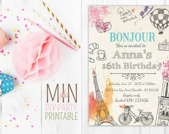 Vintage Paris Invitation_2,Paris Girl Invitation,Paris Invitation 2,Eiffel Tower Birthday Invite,Paris Birthday Invitation,French Party