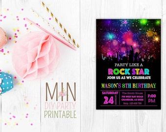 Funny rockstar invite,Girl Rock Star Invitation, Printable Rock Star Invitation, Girl Rockstar Invitation, Rocker, Rock n Roll
