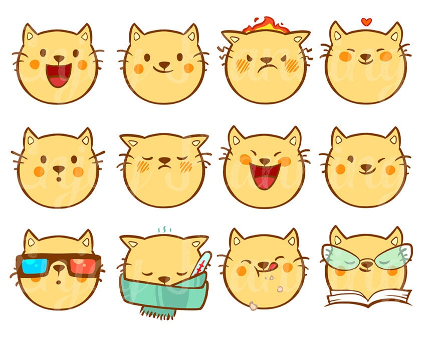 Printable Cute Cats Kawaii Stickers Cats Kawaii by EnjoyPlanning
