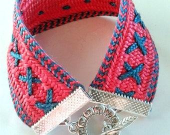 Fuchsia silk and turquoise - PSF1 Ribbon Bracelet