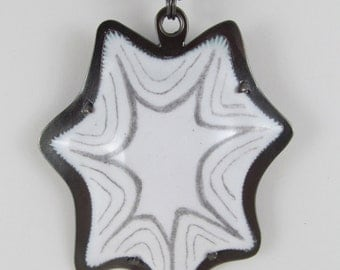 White Graphite Star Enameled Pendant