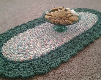 Crocheted Rug, Oval Rug, Green Rug, Handmade Rug, Homemade Rug, Rag Rug, Country Rug, Green Decor, Door Rug, Lavatory or Livingroom Rug