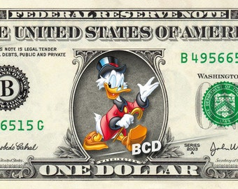 SCROOGE MCDUCK on a REAL Dollar Bill Disney Cash Money Collectible Memorabilia Celebrity