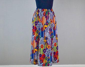 Vintage 80s Geometric Animal Print Skirt  |  Ethnic Print Skirt