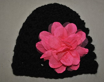 crocheted infant hat with detachable flower clip