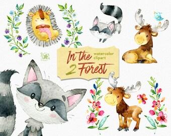 In the Forest 2. Watercolor animals clip art, elk, hedgehog, raccoon, woodland, wreath, wild berries, invite, baby showers, flowers, floral