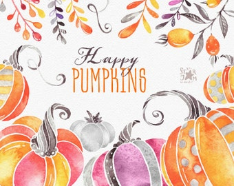 Happy Pumpkins. Watercolor clipart, halloween, thanksgiving, fall, autumn, harvest, greeting, invite, floral, print, kids, diy, png
