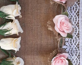 Garland, Lace Wedding GARLAND Pink Roses decorations, wedding TABLE decorations, crepe paper