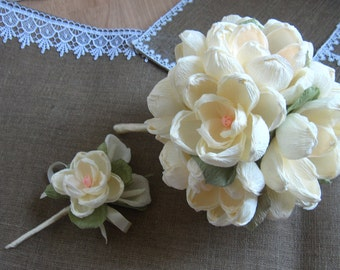 Wedding bouquet, MAGNOLIA Bruidsboeket, buttonhole