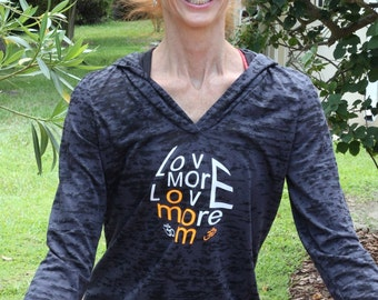 LoveMORELOVEmore Ladies BURNOUT Yoga Hoody Style 652: Printed on FRONT & BACK