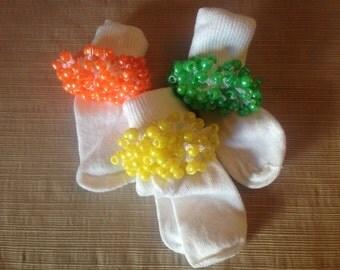 Crocheted Lace Beaded Socks
