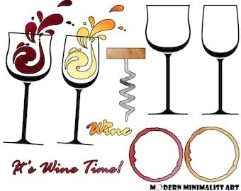 Wine clipart | Etsy