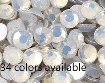 Mixed Size Crystal Flat Back Rhinestones White Opal loose flatback rhinestone glass crystals beads