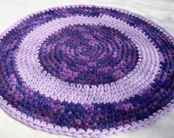 crochet rug purple mauve and blue round floor rug handmade rug bathroom