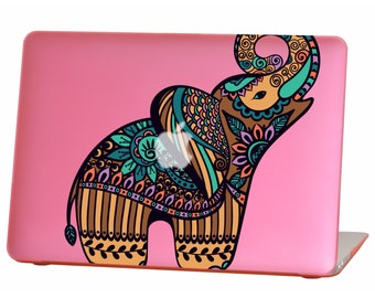 Macbook Air 13 inches Rubberized Hard Case for model A1369 & A1466, colorful elephant Design with Pink Bottom Case, Come with Keyboard Cover