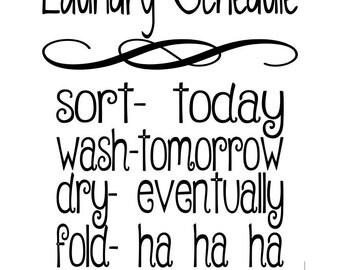 laundry schedule svg digital cut file