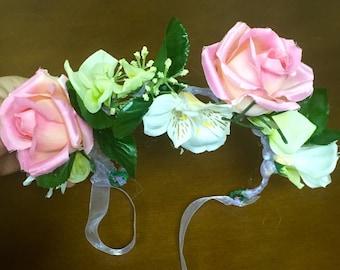 Pink Rose Flower Crown