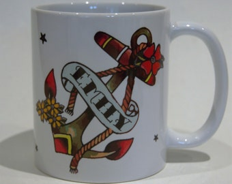 Her name anchor and flowers mug by Tattoo Mug Lady