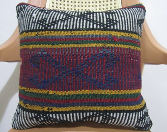 Kilim Pillow 16 x 16 Colorful Turkish Vintage embroidery Nomadic Anatolian Turkish pillow Decorative Kilim pillow