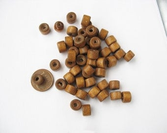 wooden beads, wooden cylinder, wooden spacer, wood beads, short cylinder wooden beads, wooden spacers