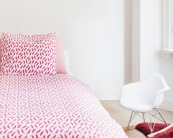 Pink feather duvet cover