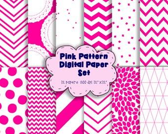 "Pink and White Pattern Digital Paper Set - Modern Digital Paper - Scrapbooking Paper - PINK Digital Paper – 12 Patterns - 12"" x 12"" - 300DPI"