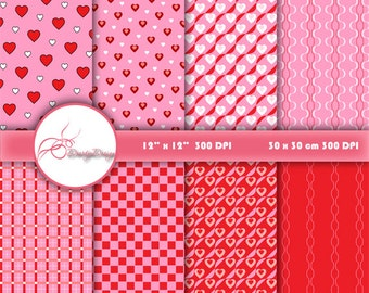 Valentine Digital paper VALENTINE PAPER background, Red Pink digital paper, Heart digital paper, Red Pink romantic paper scrapbook