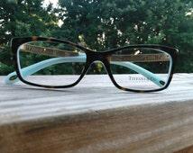 Tiffany eyeglass,Frame,Eyewear,Tiffany and co, & co.,Cat eye,Vintage,Tortoise,Roman numerals,Authentic,Glasses,53-16-140,Nerd,Womans,Italy