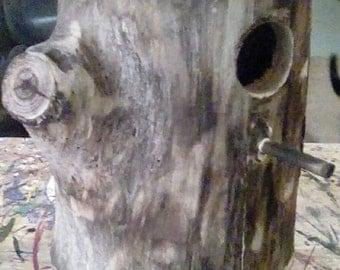 Hand Made Wooden Tree Stump Wood Burnt Look Bird House