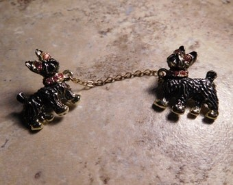 Dual Sweater Pin Scottish Terrier Vintage Brooch With Chain