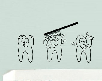teeth wall decal teeth wall stickers tooth wall decal (Z745)
