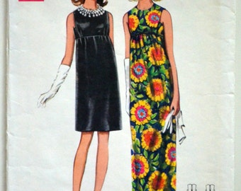 1960s Butterick Vintage Sewing Pattern 4734, Size 12; One-Piece Evening Dress