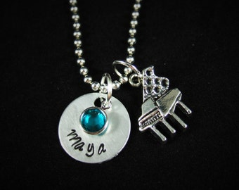 Piano Necklace or Keychain, Piano Player Gift, Piano Teacher Gift