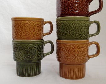 Vintage Japanese stackable mugs