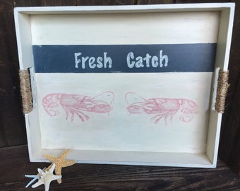 Nautical Serving Tray- Wooden Serving Tray- Shabby Chic Painted Tray - Ocean Theme Serving Tray - Fresh Catch Serving Tray