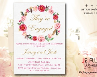 INSTANT DOWNLOAD Engagement Invitation, Floral Engagement Party Invitation Printable, Invites Template Instant Download, DIY Editable pdf