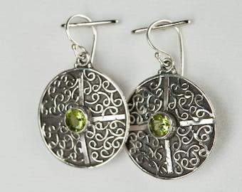 B001-014-002 Handmade Sterling Silver Hoop Earrings Green Peridot August Birthstone