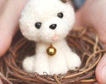 Zanza DIY Handmade Needle Felting Craft Wool Felt Kit Crown Teddy Puppies Series
