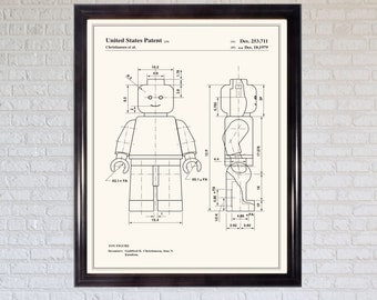 2 Lego patent prints |Pair of prints|Wall art|Posters|Gifts|Presents|Toy|Minifigure| lego Bricks|Personalised